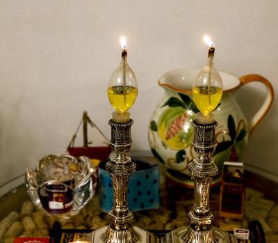 Shabbat lamps in a Jerusalem home, Israel..